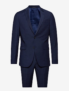 Checked suit - single breasted suits - dk blue check