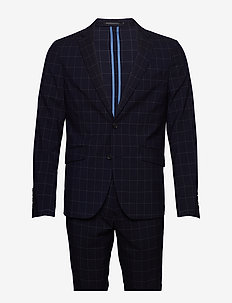 Checked suit - single breasted suits - navy check