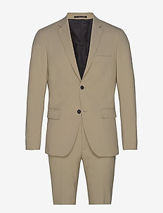 Plain mens suit - enkeltkneppede dresser - beige