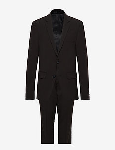 Plain mens suit - single breasted suits - black