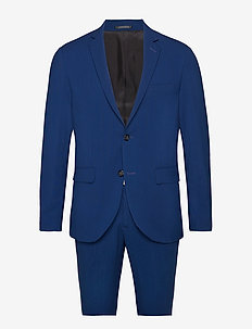 Plain mens suit - enkeltradede jakkesæt - blue