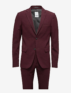 Plain mens suit - single breasted suits - bordeaux mel