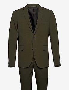 Plain mens suit - single breasted suits - dk army