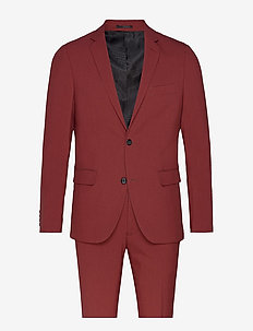 Plain mens suit - enkeltradede jakkesæt - dusty red