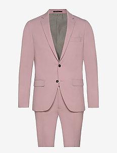 Plain mens suit - kostuums met enkele rij knopen - lt purple