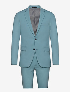 Plain mens suit - single breasted suits - sea blue
