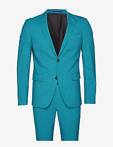 Plain mens suit - single breasted suits - turquoise mel