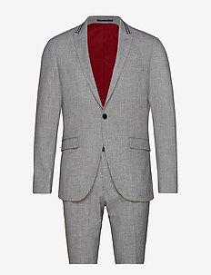 Melange suit w. contrast tape - enkelknäppta kostymer - grey mel