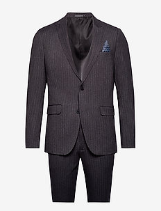 Pin striped suit - einreiher anzüge - dk grey mel