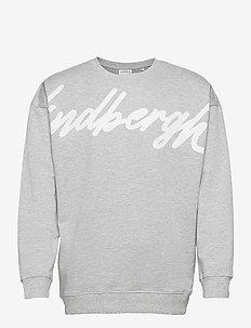 Placement print logo sweatshir - tops - grey mel