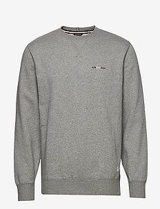 Basic sweatshirt w embroidery - basic sweatshirts - grey mel