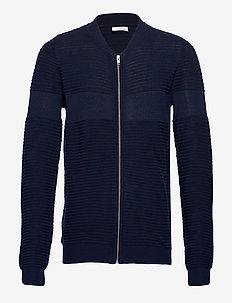 Structured cardigan - basic gebreide truien - dk blue