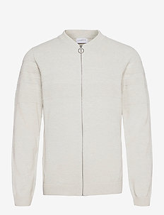 Pearl knit cardigan - stickade basplagg - off white mel