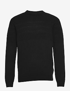 Pearl knit o-neck - knitted round necks - black