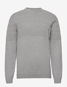 Pearl knit o-neck - knitted round necks - grey mel