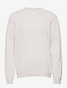 Pearl knit o-neck - knitted round necks - off white mel