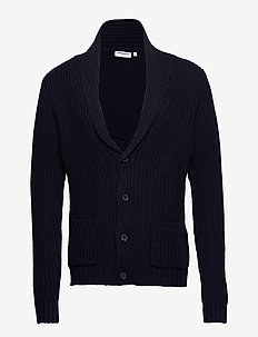Half cardigan stitch knit - NAVY
