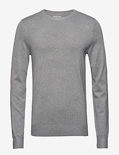 Mélange round neck knit - GREY MEL