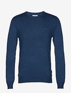 Mélange round neck knit - MID BLUE MEL