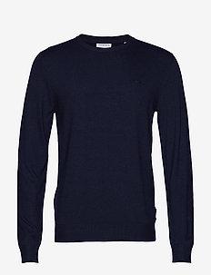 Mélange round neck knit - basisstrikkeplagg - navy mel