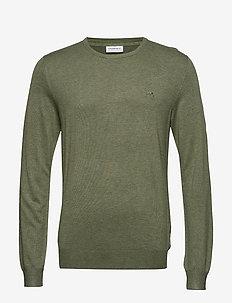 Mélange round neck knit. - OLIVE MEL