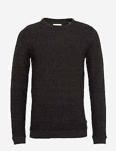 Herringbone o-neck - BLACK MEL