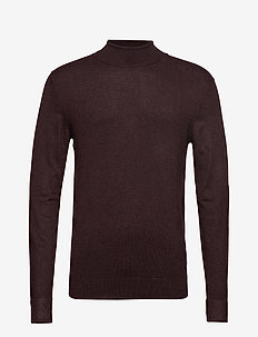 Roll neck knit - basic knitwear - dk bordeaux mel