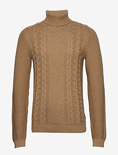 Cable knit w. roll neck - truien met col haag - dk sand mel