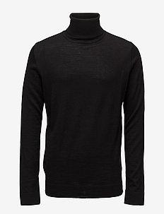 Merino knit roll-neck - basic-strickmode - black