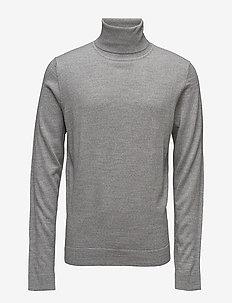 Merino knit roll-neck - basisstrikkeplagg - lt grey mix
