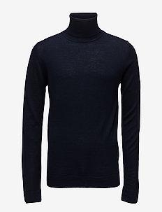 Merino knit roll-neck - basisstrikkeplagg - navy