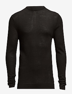 Merino knit o-neck - BLACK