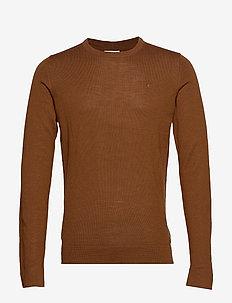 Merino knit o-neck - LT BROWN