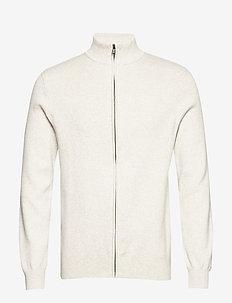 Knit pattern zip cardigan - podstawowa odzież z dzianiny - off white mel