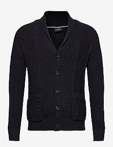 Pattern knit w/shawl collar - vesten - navy