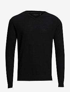 Merino knit with v-neck - v-hals - black
