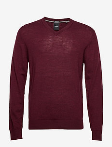 100 % merino v-neck knit - DK PLUM MEL