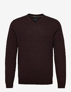 100 % merino v-neck knit - v-hals - deep bordeaux mel