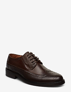 Leather brogue oxford shoe - BROWN