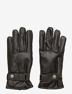 Lamb aniline leather gloves - DARK BROWN