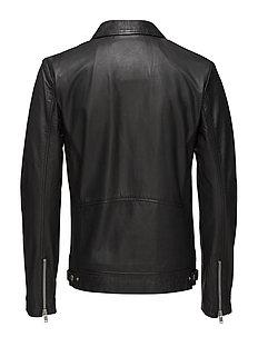 Leather jacket w/ zip pockets - BLACK