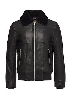 Leather jacket with fur collar - BLACK