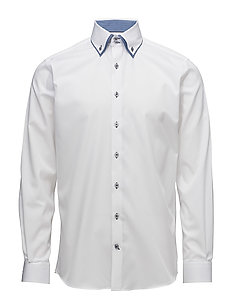 Twill double collar shirt L/S - WHITE