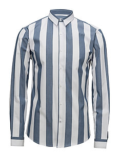 Wide striped shirt L/S - DUSTY BLUE
