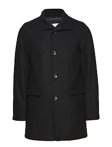 Mens coat with stand collar - BLACK