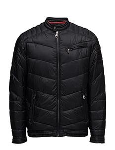 Quilted biker jacket - BLACK