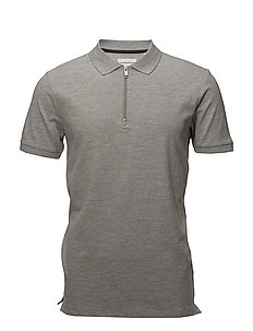 Stretch polo zip shirt S/S - GREY MEL