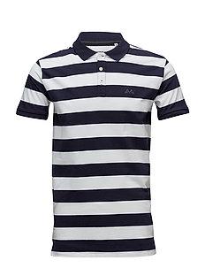 Striped stretch polo shirt - NAVY