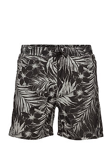 Swim shorts w. tropic print - DUSTY BLACK
