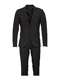 Plain mens suit - DK GREY MEL